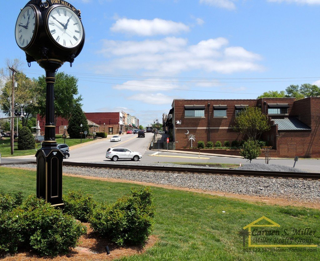 Downtown fort mill with clock