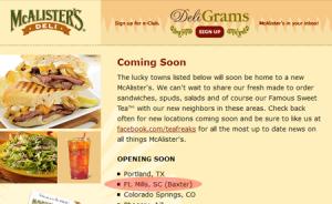 Rumor Confirmed, McAlister's Deli Will Open In Baxter Village