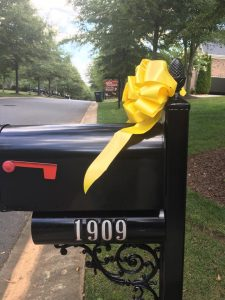 Gold Bows Displayed In Tega Cay and Fort Mill