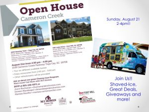 Open House Spectacular at Cameron Creek! Sunday, August 21~ 2 – 4 pm