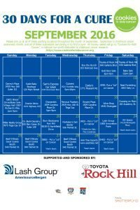 30 days For A Cure 2016 Spoansor Calendar
