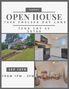 SUNDAY OPEN HOUSE ~ 9/10 FROM 1-3 ~7040 Chelsea Day Lane, Tega Cay SC 29708 ~ $262,500