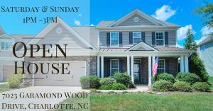 OPEN HOUSE ~ Saturday & Sunday ~ 9/9 – 9/10 ~ 1PM – 3PM ~ 7023 Garamond Wood Drive, Charlotte NC 28278