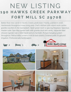 Attention ~ New Listing ~ 190 Hawks Creek Parkway, Fort Mill SC 29708