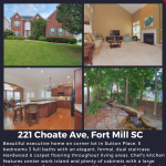 Open House ~ 221 Choate Avenue, Fort Mill SC 29708 ~ Sat 2PM – 4PM and Sun 11PM – 1PM