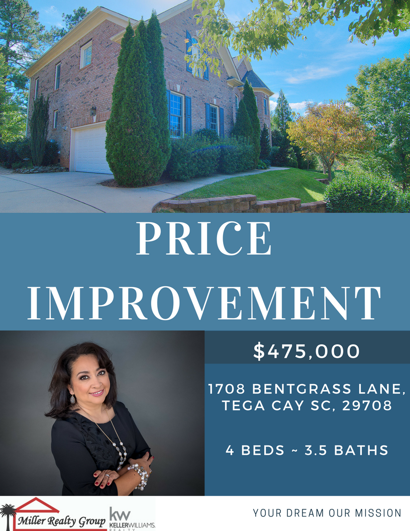 Price Improvement!!! 1708 Bentgrass Lane, Tega Cay SC 29708 ~ $475,000