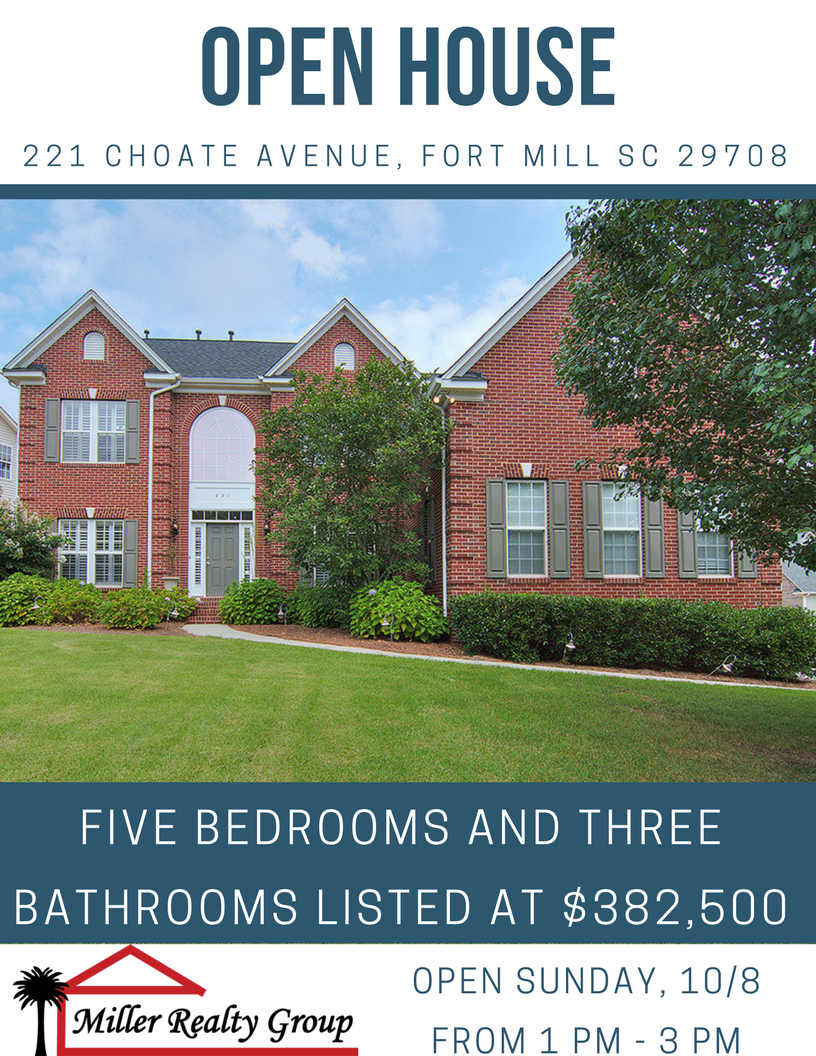 Open House ~ Sunday, 10/8 From 1 PM – 3 PM ~ 221 Choate Avenue, Fort Mill SC 29708