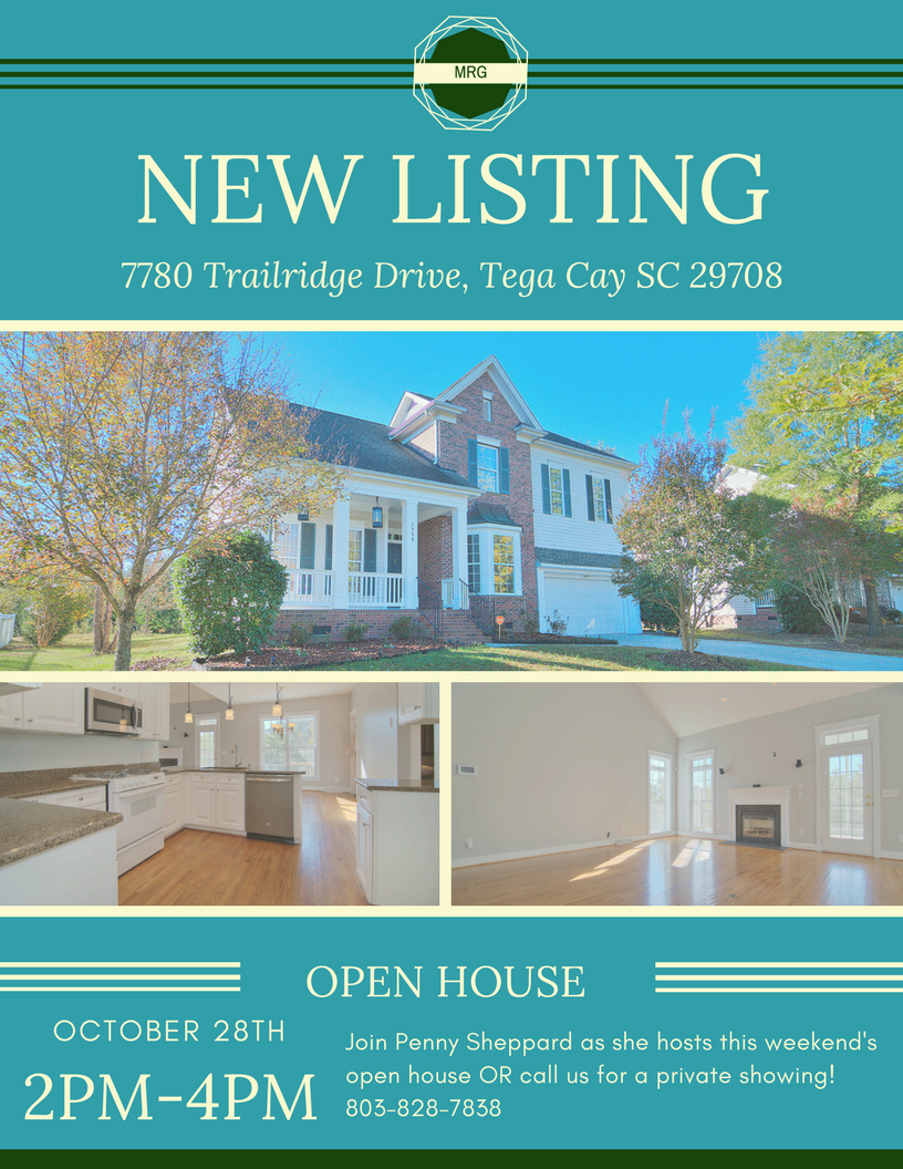 Hot New Listing!! 7780 Trailridge Drive, Tega Cay SC 29708 ~ Open House is Sat and Sun ~ 10/28 and 10/29 ~ 2PM – 4PM