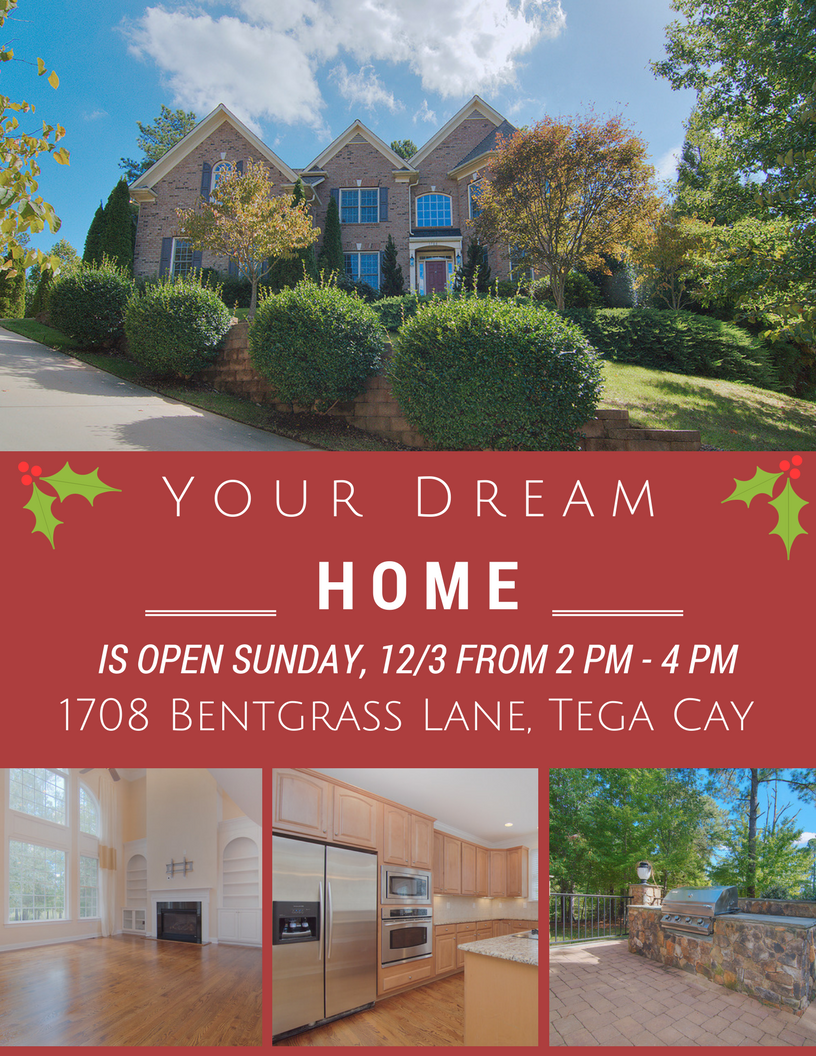 Open House ~ 12/3  ~ Sunday ~ From 2 PM – 4 PM ~1708 Bentgrass Lane, Tega Cay SC 29708