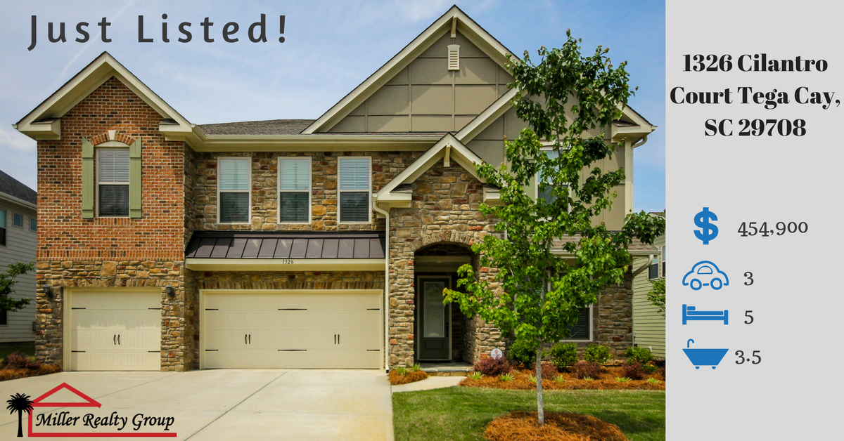 Just Listed ~ 1326 Cilantro Court Tega Cay, SC 29708 ~ $454,900 ~ 5 Bedroom ~ 3.5 Baths