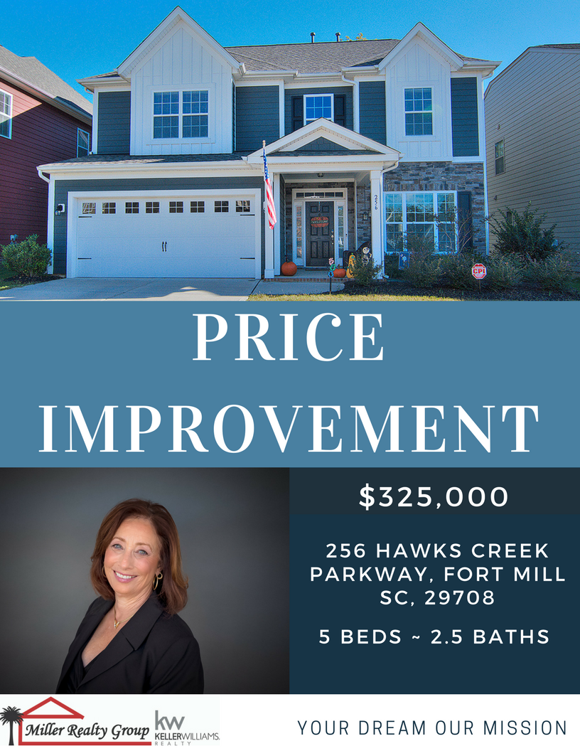 Price Improvement ~ 256 Hawks Creek Parkway, Fort Mill SC, 29708 ~ Open House Sat/Sun ~ 12/2 -12/3 ~ 1PM – 3PM