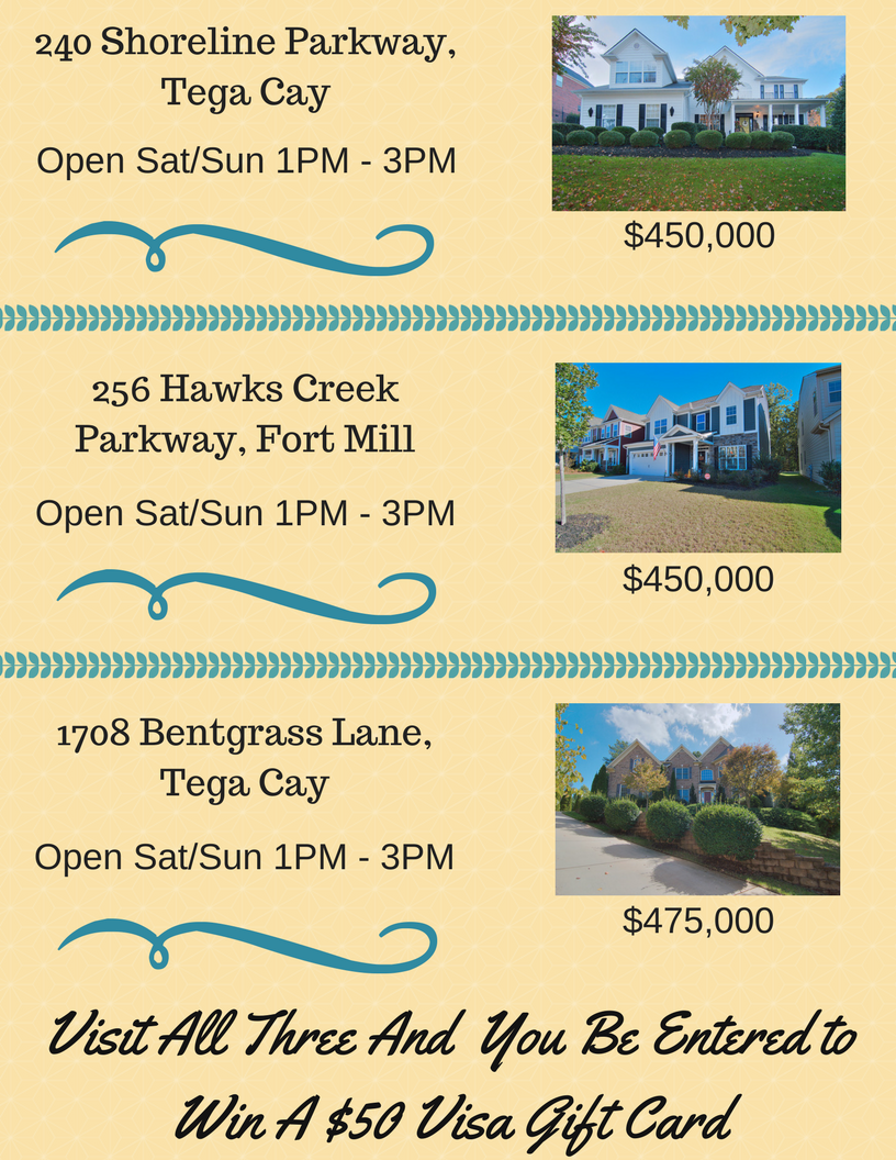 Open House Raffle Event ~ Sat/Sun ~ 11/18 – 11/19 From 1 PM – 3 PM ~ Three Stunning Homes!