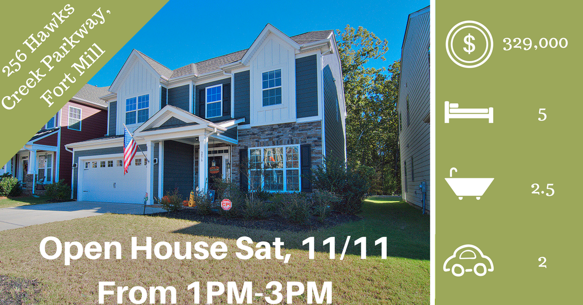 Open House ~ Saturday, 11/11 From 1 PM – 3 PM ~ 256 Hawks Creek Parkway, Fort Mill SC 29708 ~