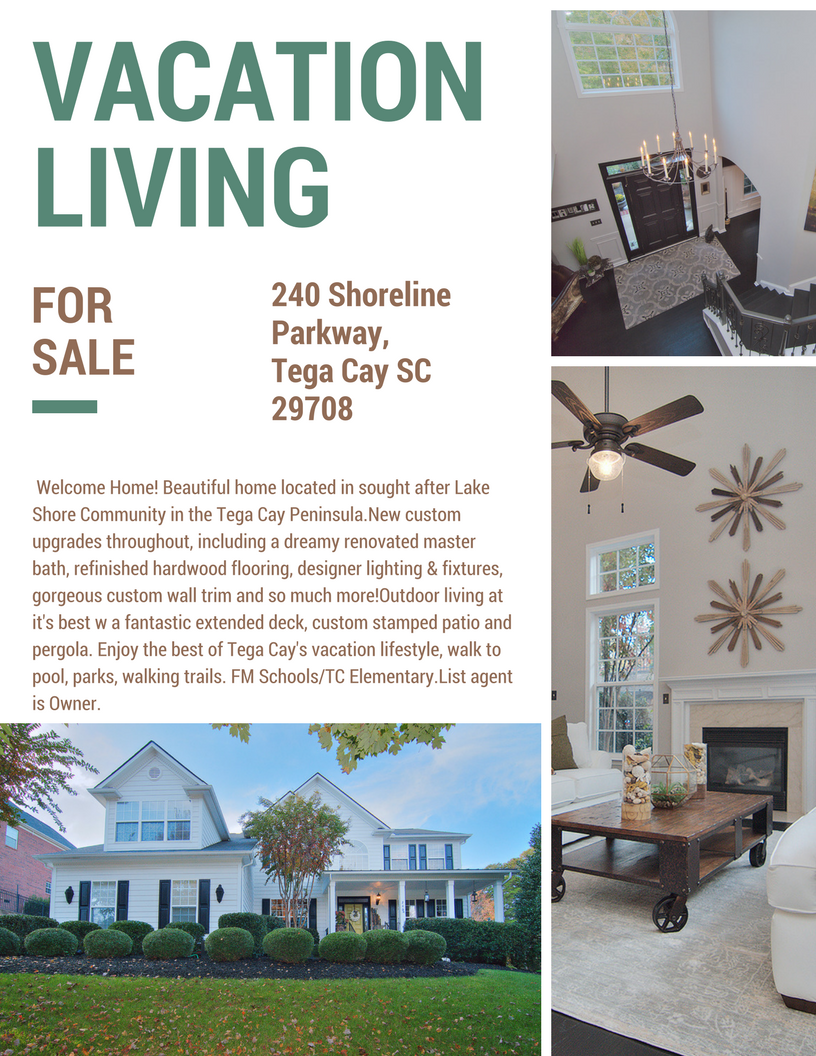 Our Newest Listing ~ 240 Shoreline Parkway, Tega Cay, SC 29708 ~ $450,000