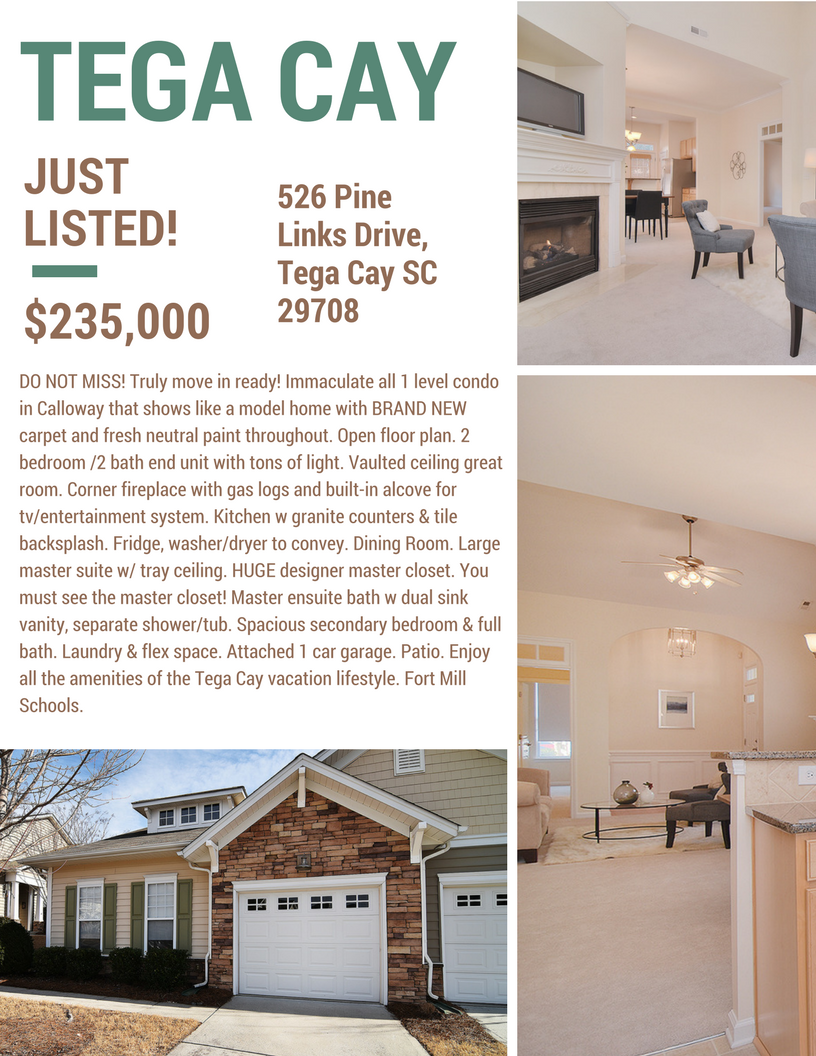 Just Listed ~ DO NOT MISS ~ 526 Pine Links Drive, Tega Cay SC 29708
