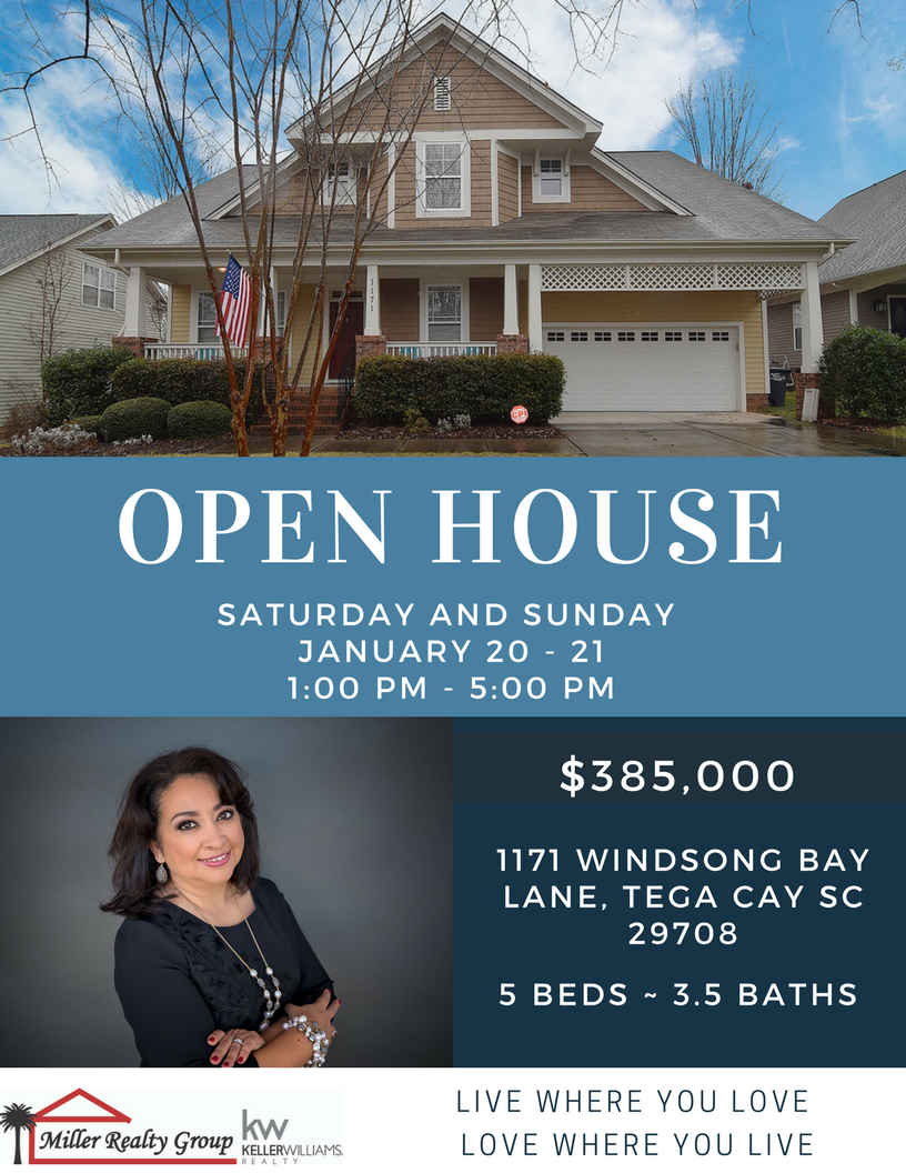 Open House ~ 1171 Windsong Bay Lane, Tega Cay SC 29708 ~ Sat – Sun 1/20 -1/21 ~ 1PM -5PM Both Days!