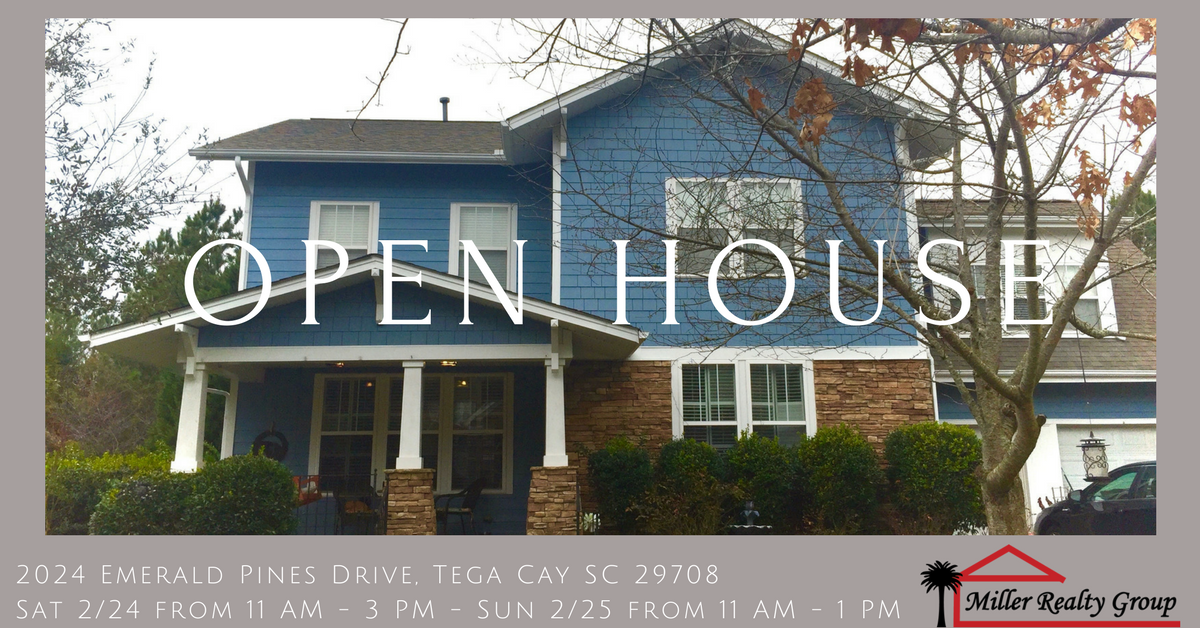 Open House ~ Sat 2/24 from 11 AM – 3 PM and Sun 2/26 from 11 AM – 1 PM ~ 2024 Emerald Pines Drive, Tega Cay SC 29708