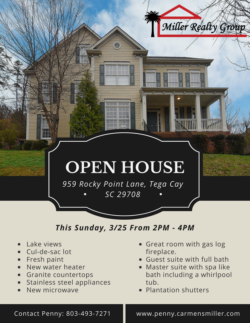Open House! 3/25 This Sunday, From 2PM – 4PM ~ 959 Rocky Point Lane, Tega Cay SC 29708