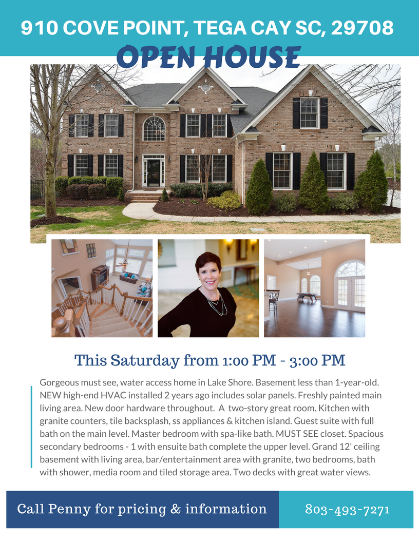 OPEN HOUSE ~ Saturday, 4/7 From 1 PM – 3 PM ~ 910 Cove Point Lane, Tega Cay SC 29708