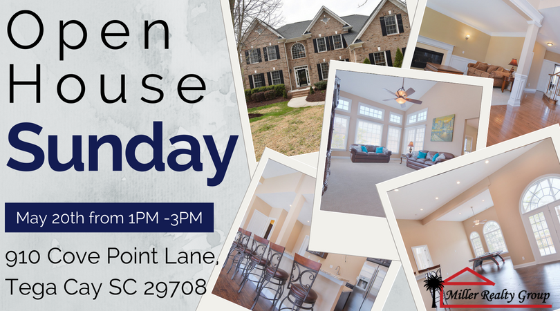 910 Cove Point Lane, Tega Cay SC 29708 is Having an OPEN HOUSE this Sunday, May 20th from 1 PM – 3 PM