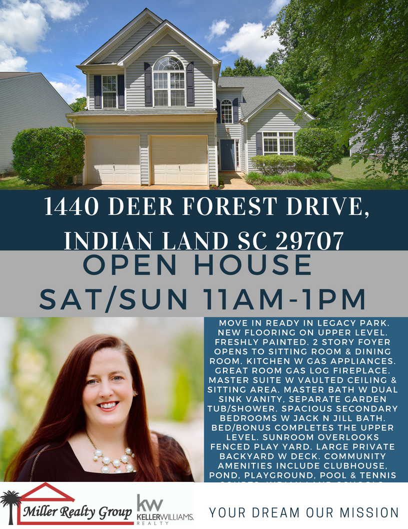 Just Hit The Market ~ 1440 Deer Forest Drive, Indian Land SC 29707 ~ Open House Sat/Sun May 26-27 From 11am -1pm