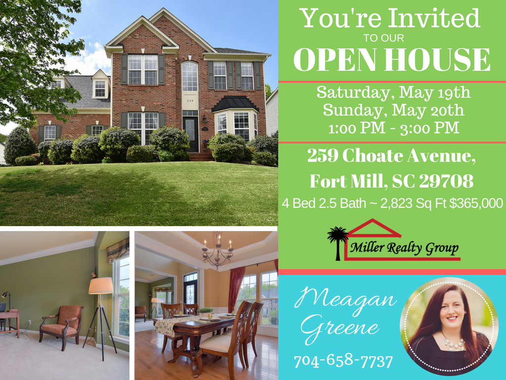 Price Improvement ~ 259 Choate Avenue, Fort Mill SC 29708 ~ Open House Sat/Sun May 19 – 20 From 1PM – 3PM