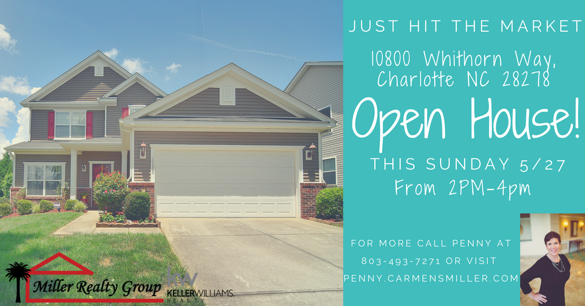 New Listing ~ 10800 Whithorn Way, Charlotte NC 28278 ~ Open House This Sunday, May 27, 2 PM – 4 PM