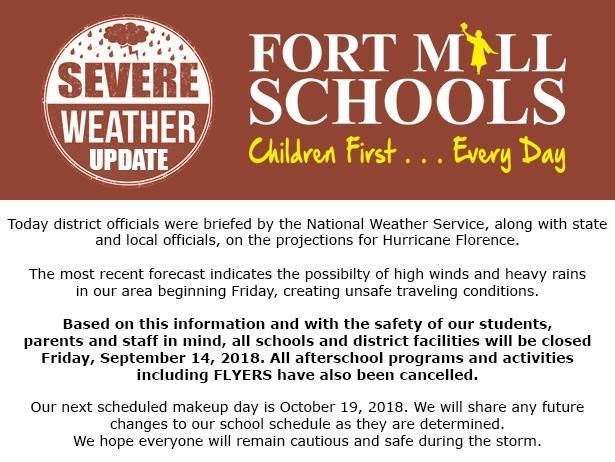 Heads Up! FMSD Update! 9/14/18 School day CANCELLED
