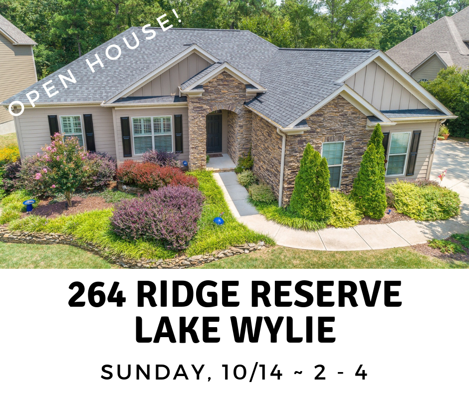 Open This Sunday 10/14, from  2 – 4  ~ 264 Ridge Reserve Drive #57, Lake Wylie SC 29710